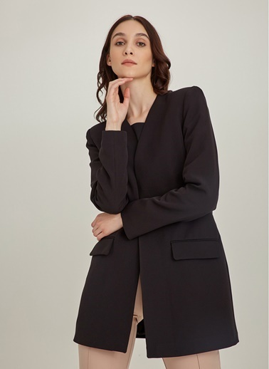 NGSTYLE Yakasız Blazer Ceket Siyah